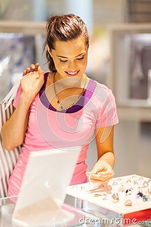 Woman choosing jewelery
