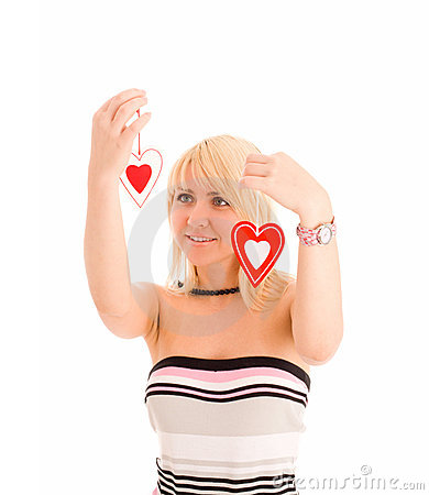 Woman choosing from two heart. Concept