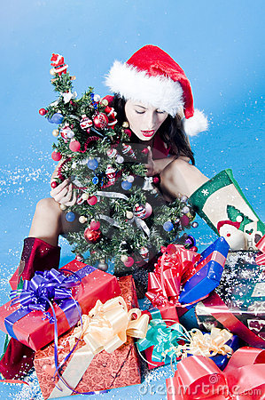 Woman with Christmas decor