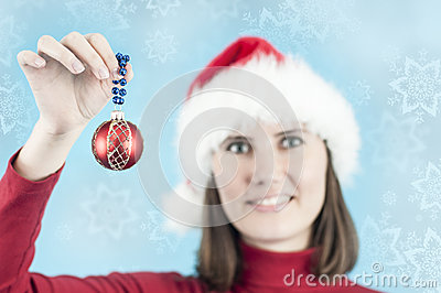 Woman with a Christmas decoration