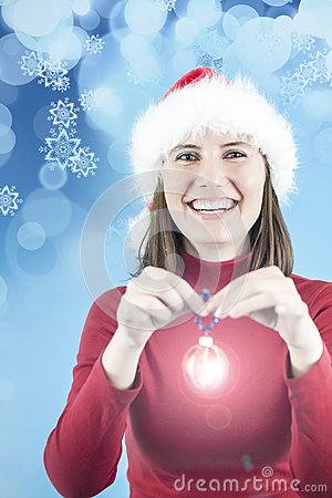 Woman with Christmas decoration