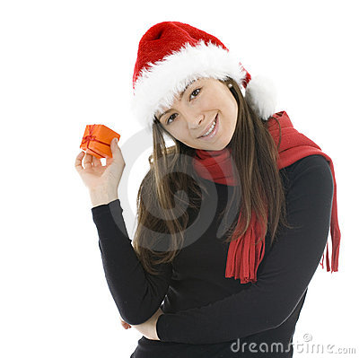 Woman in Christmas hat with gift box