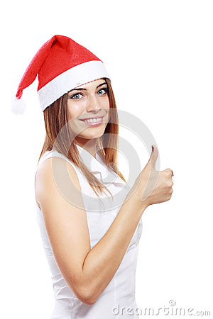 Woman in Christmas hat smiling