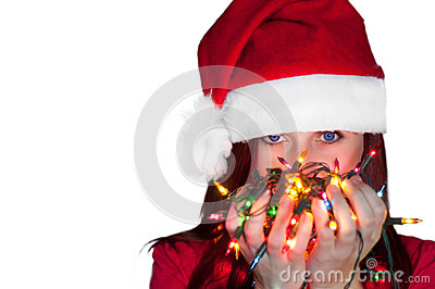 Woman with christmas lights