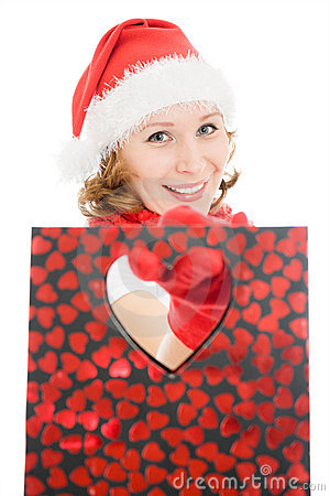 Woman with Christmas presents