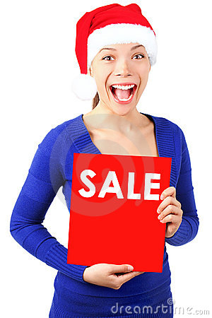 Woman with christmas sale sign