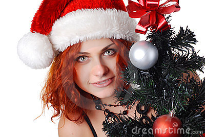 Woman with christmas tree