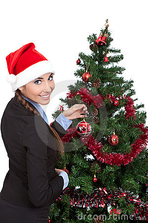 Woman with a christmas tree