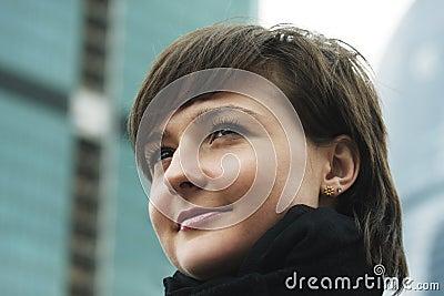 Woman in city closeup