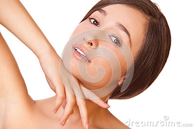 Woman with clean skin looking at camera