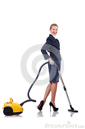 Woman cleaning with   cleaner