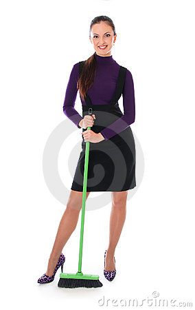 Woman is cleaning floor