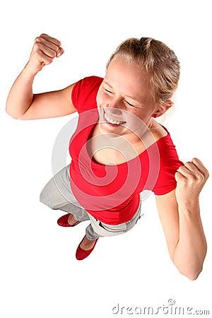 Woman clenching fists