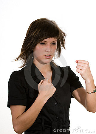 Woman clenching fists