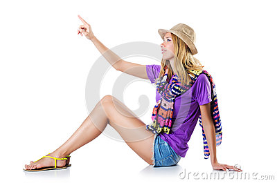 The woman clicking virtual button isolated on Stock Photo