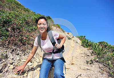 woman climber outside