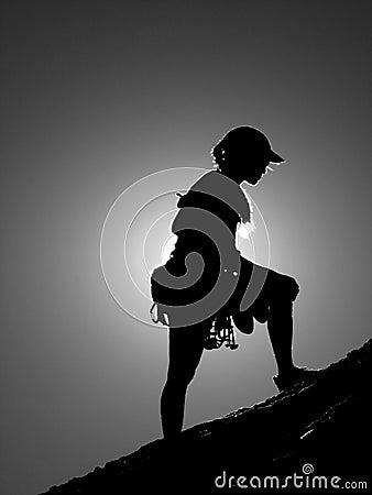 Woman climber silhouette