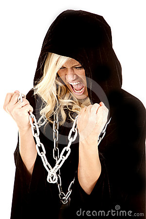 Woman cloak chain screaming