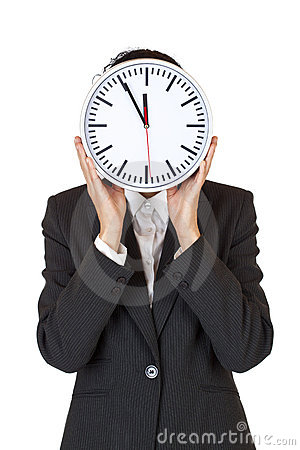 Woman with clock express stress by time pressure