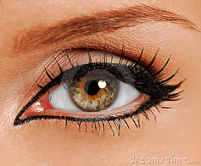 Woman close-up eye. False lash