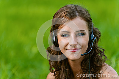 Woman close up in headphones