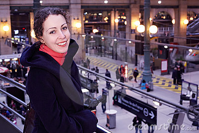 Woman close up stands half-turned on station Stock Photo