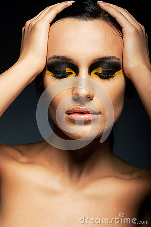 Woman, Closed Eyes - False Lashes, Bright Makeup