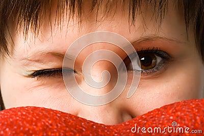 Woman closeup sight looking straight