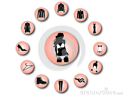Woman clothes icons 2