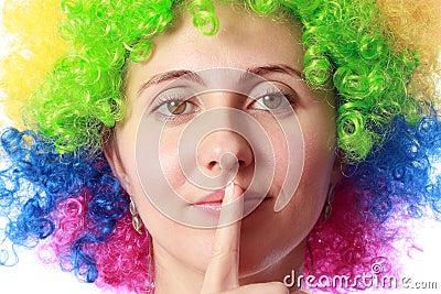 Woman with clown hair