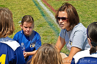 Woman Coaching Girls Soccer Editorial Image