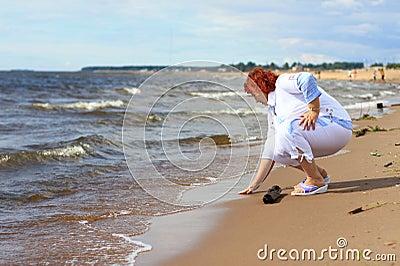 Woman on coast