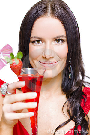Woman With Cocktail Celebrating A Happy New Year