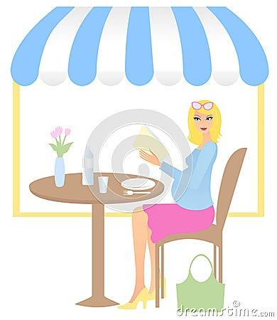 Woman in coffee lounge