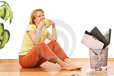 Woman with coffee or tea cup - free from work