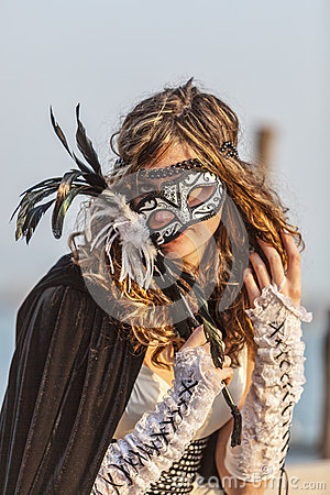 Woman with Colombina Mask Editorial Photography