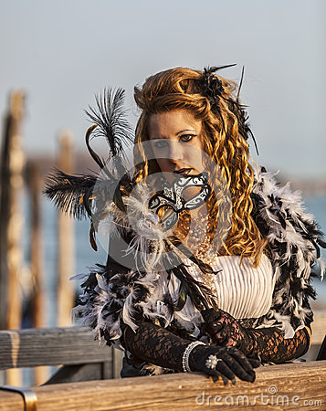 Woman with Colombina Mask Editorial Photo