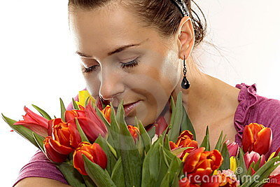 Woman with Colored Tulips