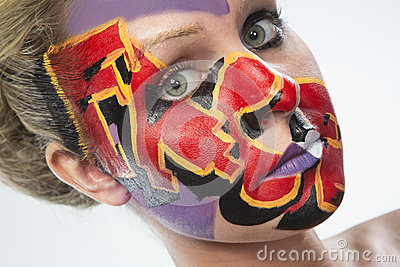 Woman with colorful face paint