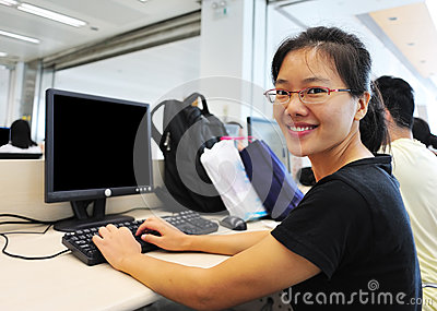 Woman in computer room