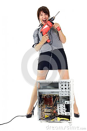 Woman computer torture
