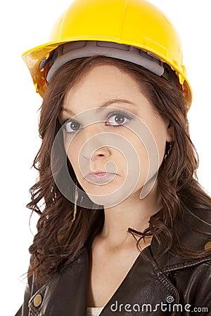 Woman construction hat sad
