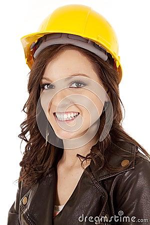 Woman construction hat smile