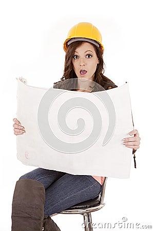 Woman construction plans