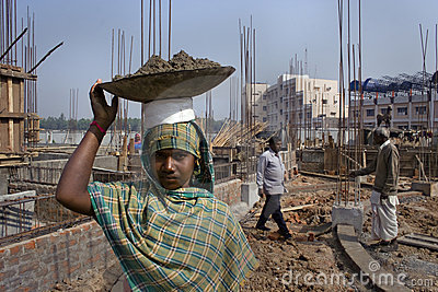 Woman construction worker Editorial Stock Photo