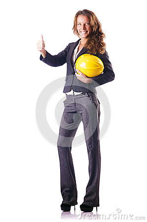 Woman construction worker with hard hat