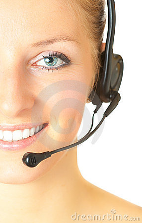 Woman consultant with headset