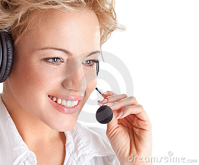 Woman consultant with headset and mic