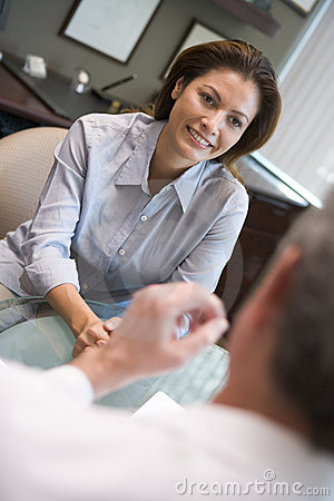 Woman in consultation at IVF clinic