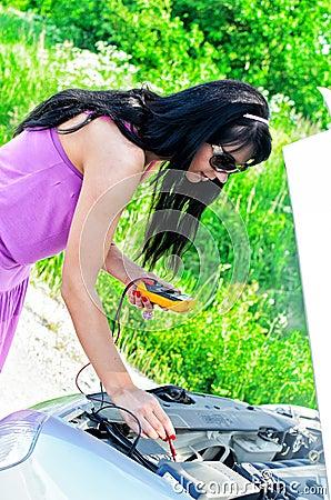 Woman controls lead acid battery